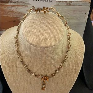 Delicates brown flower necklace & Earring Set